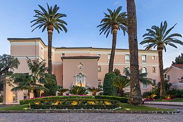 Famous La Reserve de Beaulieu Hotel at dusk, Beaulieu sur Mer, Alpes Maritimes, Cote d'Azur, French Riviera, Provence, France, Mediterranean, Europe