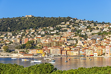 View from to the old town and Mont Alban fortress, Villefranche sur Mer, Alpes Maritimes, Cote d'Azur, French Riviera, Provence, France, Mediterranean, Europe