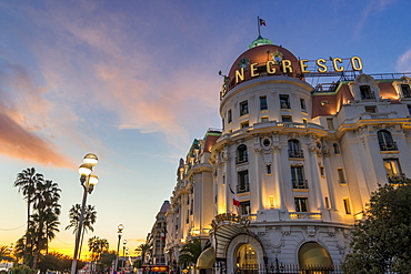 Illuminated Le Negresco Hotel building at sundown, Nice, Alpes Maritimes, Cote d'Azur, French Riviera, Provence, France, Mediterranean, Europe