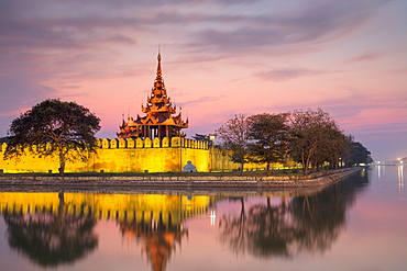 Sunset view of the Royal Palace, City Moat and City Wall in Mandalay, Myanmar (Burma), Asia