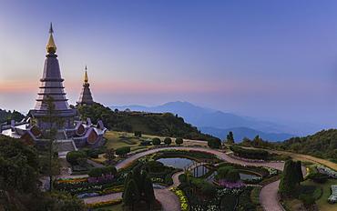King and Queen Pagodas, Doi Inthanon, Thailand, Southeast Asia, Asia