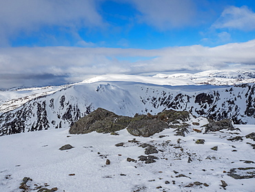 On the summit of The Cairnwell in the Cairngorm National Park looking over the glen to Carn a' Gheoidh in the distance, Cairngorm National Park, Scotland, United Kingdom, Europe