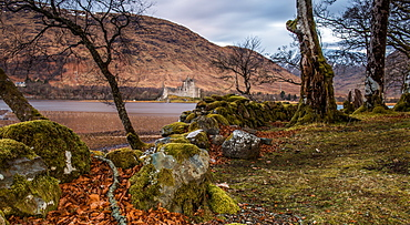 Kilchurn Castle, built in 15th century, a ruined structure at the northeastern end of Loch Awe, Argyll and Bute, Scotland, United Kingdom, Europe