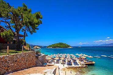 Tre Ishujt Beach, Ksamil, South coast, Albania, Europe