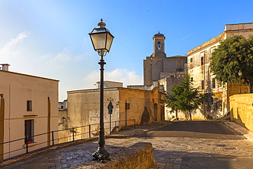Via dei Cesari, the Cathedral of Santa Maria Assunta in the background, Ugento, Puglia, Italy, Europe