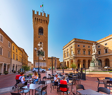 Piazza Giacomo Leopardi, Recanati, Marche, Italy, Europe