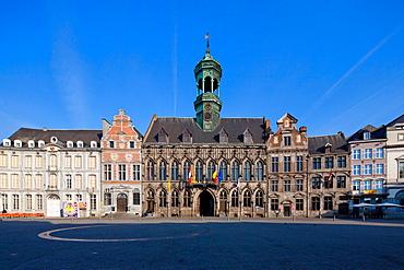 City Hall, Grand Place, Mons, Wallonia, Belgium, Europe