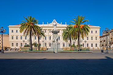 Palazzo della Provincia in the town square Piazza d'Italia, Sassari, Sardinia, Italy, Europe