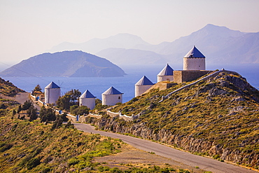 Mills along the road to the Castle, Leros Island, Dodecanese, Greek Islands, Greece, Europe