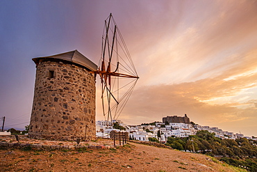 Windmills in Chora, Patmos, Dodecanese, Greek Islands, Greece, Europe