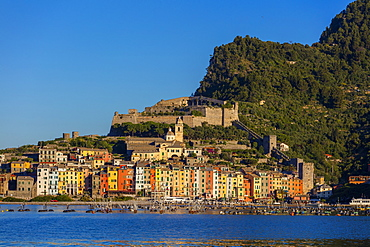 Island of Palmaria, view of Portovenere from Palmaria, Liguria, Italy, Europe