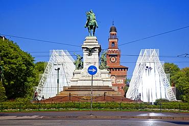 Piazza Cairoli and the Castello Sforzesco, Milan, Lombardy, Italy, Europe