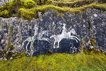 Cave paintings, The Burren, County Clare, Munster, Republic of Ireland, Europe