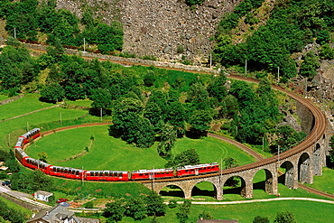 The Bernina Express, Viaduct of Brusio, UNESCO World Heritage Site, Lombardy, Italy, Europe