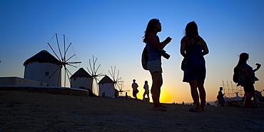 Windmills area, Mykonos, Cyclades, South Aegean, Greek Islands, Greece, Europe