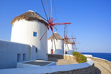 Windmills, Mykonos, Cyclades, South Aegean, Greek Islands, Greece, Europe