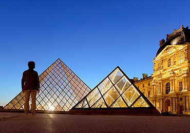 Louvre Museum and Pyramide, Paris, France, Europe