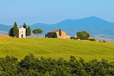 Vitaleta Church, San Quirico d'Orcia, Val d'Orcia, UNESCO World Heritage Site, Tuscany, Italy, Europe