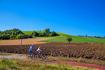 On the Fausto Coppi's roads, the cycling route from Villaromagnano to Castellania, Tortona area, Alessandria, Piedmont, Italy, Europe