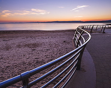 After sunset with the curved railings at the RNLI station, Exmouth, Devon, England, United Kingdom, Europe