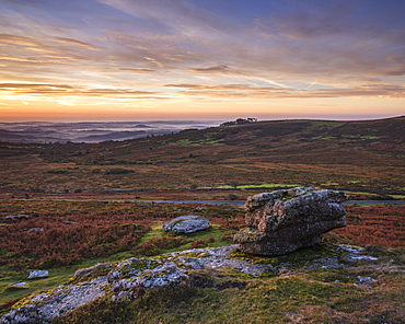 Twilight from the summit of Saddle Tor with mist in the Teign Valley, Dartmoor National Park, Bovey Tracey, Devon, England, United Kingdom, Europe