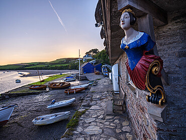Coronation boat house, boats and River Avon at Bantham, Devon, UK