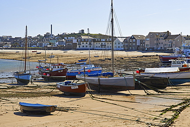 A sunny day with boats in the harbour at Hugh Town, St. Mary's, Isles of Scilly, United Kingdom, Europe