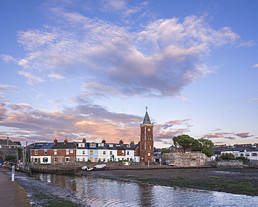The village early in the morning, viewed from the breakwater, Lympstone, Devon, England, United Kingdom, Europe