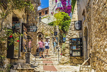 The medieval village of Eze, Alpes Maritimes, Provence Alpes Cote D'Azur, French Riviera, France, Mediterranean, Europe