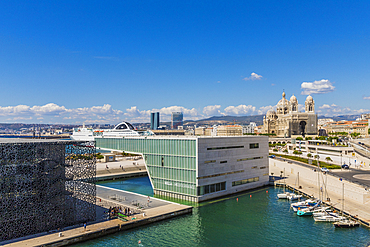 View of Marseille Cathedral, MuCEM and Villa Mediterranee, Provence, Provence Alpes Cote d'Azur, France, Mediterranean, Europe