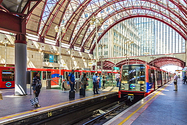 Canary Wharf DLR train station in Canary Wharf, Docklands, London, England, United Kingdom, Europe