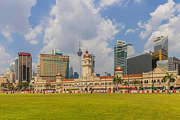 City skyline featuring the Sultan Abdul Samad Building from Independance Square in Kuala Lumpur, Malaysia, Southeast Asia, Asia
