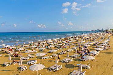 Finikoudes Beach in Larnaca, Cyprus, Europe.