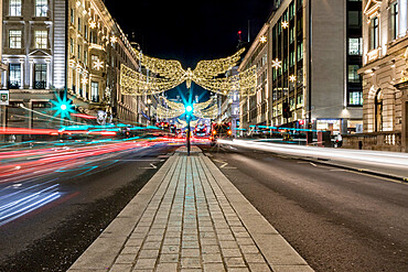 Regent Street light trails at night, London, England, United Kingdom, Europe
