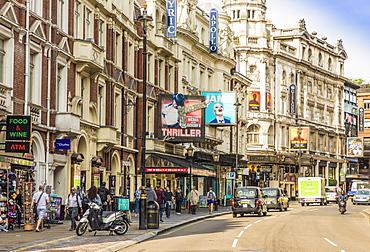 A view of Shaftsbury Avenue in Theatreland, Soho, London, England, United Kingdom, Europe