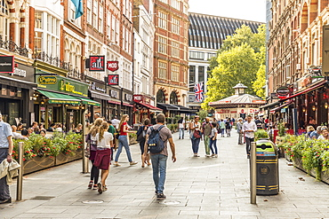 A typical street scene off Leicester Square, London, England, United Kingdom, Europe