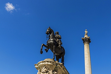 The Charles I statue and Nelsons Column in Trafalgar Square ,London, England, United Kingdom, Europe