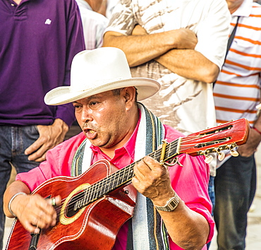 A local musician in Medellin, Colombia, South America