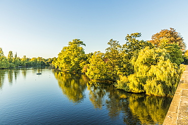 The Serpentine lake in Hyde Park, London, England, United Kingdom, Europe