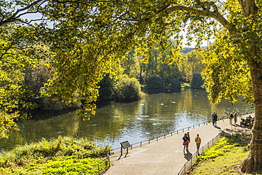 A view of St. James's Park lake in St. James's Park, London, England, United Kingdom, Europe
