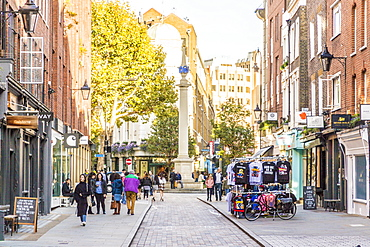 Earlham Street looking towards Seven Dials, in Covent Garden, London, England, United Kingdom, Europe