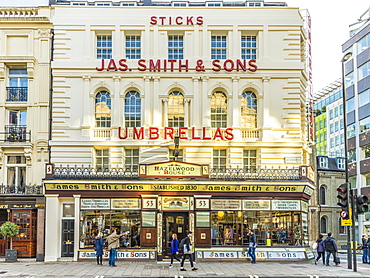 The Victorian shop front of James Smith and Sons Umbrellas, London, England, United Kingdom, Europe