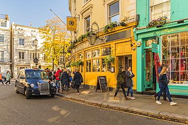 A street scene on Portobello Road, in Notting Hill, London, England, United Kingdom, Europe