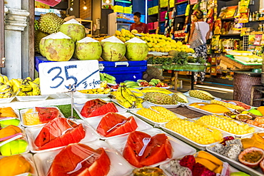 Tropical fresh fruit for sale in a market stall in Kata, Phuket, Thailand, Southeast Asia, Asia