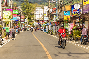 The main street, Rim Hat Road, in Kamala in Phuket, Thailand, Southeast Asia, Asia