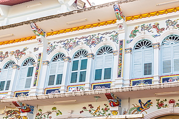 Porcelain decorations on the Shrine of The Serene Light (Sang Tham) in Phuket old town, Phuket, Thailand, Southeast Asia, Asia