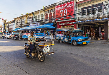 Local transport in Phuket old town, Phuket, Thailand, Southeast Asia, Asia