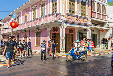 Beautiful Sino-Portuguese architecture on Soi Romanee (road) in Phuket old town, Phuket, Thailand, Southeast Asia, Asia