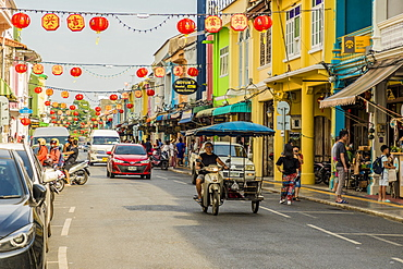 Beautiful Sino-Portuguese architecture on Thalang Road in Phuket old town, Phuket, Thailand, Southeast Asia, Asia