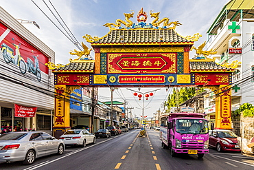 A colourful ornate entrance to Phuket Road in Phuket old town, Phuket, Thailand, Southeast Asia, Asia
